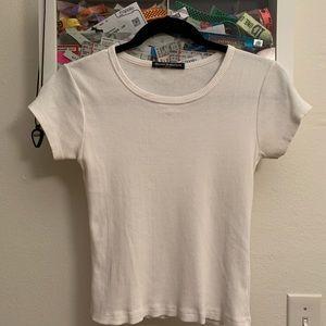 brandy melville white ribbed t shirt